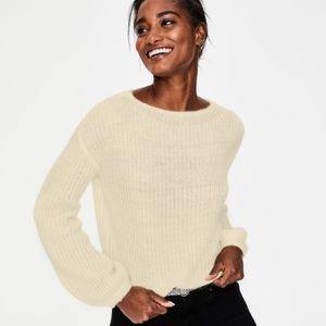 Boden Ivory Balloon Sleeve Francesca Sweater S NWT